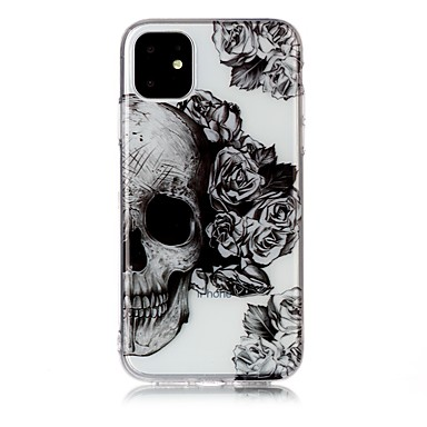 voordelige iPhone-hoesjes-hoesje Voor Apple iPhone 11 / iPhone 11 Pro / iPhone 11 Pro Max Ultradun / Transparant / Patroon Achterkant Doodskoppen TPU
