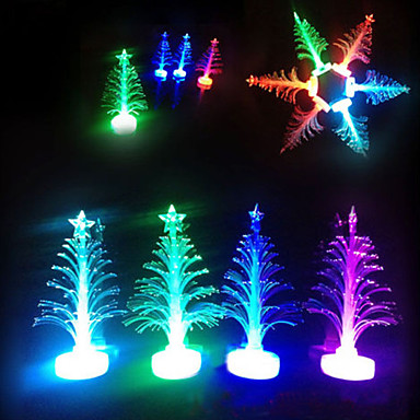 Christmas Led.3 18 Colorful Led Fiber Optic Night Light Mini Christmas Tree Design Lamp Light Children Gift Mini Table Light Party Home Decoration 1pc