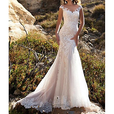 cheap Wedding Dresses-Mermaid / Trumpet V Neck Sweep / Brush Train Lace Cap Sleeve Mordern Illusion Detail Made-To-Measure Wedding Dresses with Buttons / Lace Insert 2020