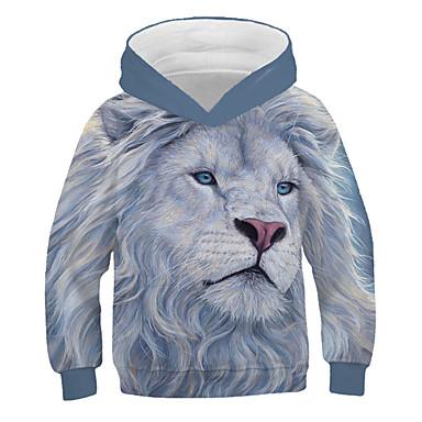 cheap Boys' 3D Clothing-Kids Boys' Active Street chic Lion Print 3D Animal Print Long Sleeve Hoodie & Sweatshirt Gray