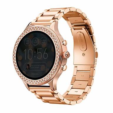 baratos Pulseiras de relógio para Fossil-pulseira de pulseira de aço inoxidável de metal para pulseira de fóssil gen 4 q venture hr / gen 3 q venture pulseira de relógio inteligente pulseira acessórios substituíveis