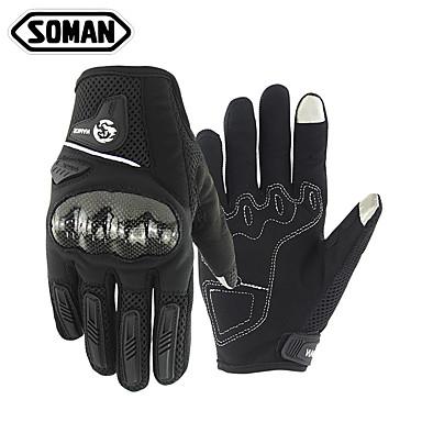Soman unisex motorhandschoenen koolstofvezel / microfiber / polyester aanraakscherm / warm / slijtvast