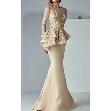 cheap Special Occasion Dresses-Mermaid / Trumpet Boat Neck Sweep / Brush Train Satin Elegant Formal Evening Dress 2020 with Ruffles