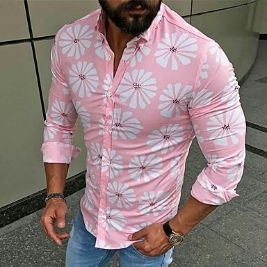 رخيصةأون قمصان رجالي-رجالي أساسي / أناقة الشارع بقع / طباعة قميص, ورد