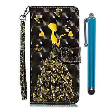 Недорогие Чехлы и кейсы для LG-чехол для lg stylo 4 / lg stylo 5 кошелек / визитница / с подставкой для всего тела чехол бабочка женщина искусственная кожа / тпу