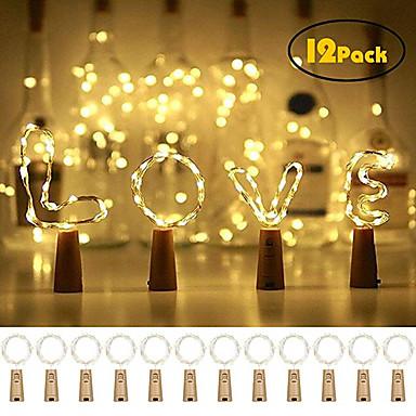 povoljno Fleksibilne LED svjetlosne trake-12pcs 20 boca vina svjetla bakrena žica vilinska žica svjetlo topla bijela boca čep atmosfera svjetiljka za Božić xmas praznik festival diy home party ukras poklon poklon