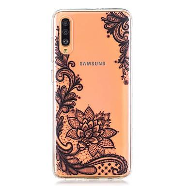 voordelige Galaxy A-serie hoesjes / covers-hoesje voor Samsung Galaxy A40 (2019) / Galaxy A50 (2019) / A70 (2019) Achterkant van het patroon Black Flower TPU voor A10 (2019) / A20 (2019) / A30 (2019) / A8 (2018) / A7 (2018) / a6 (2018)