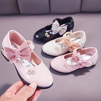 voordelige Bloemenmeisjesschoenen-Meisjes Bloemenmeisjesschoenen PU Platte schoenen Little Kids (4-7ys) / Big Kids (7jaar +) Strik Zwart / Roze / Beige Zomer