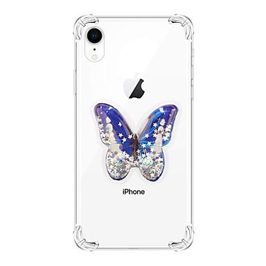 voordelige iPhone 6 hoesjes-hoesje Voor Apple iPhone XS / iPhone XR / iPhone XS Max Schokbestendig / Stromende vloeistof / Transparant Achterkant Vlinder / Glitterglans TPU