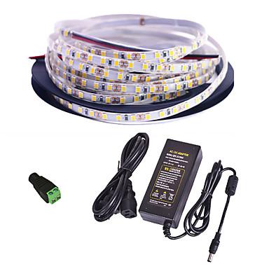 olcso LED szalagfények-5 m LED-es szalagfények / Fényfüzérek 300 LED SMD3528 1 x 12V 2A adapter Meleg fehér / Fehér / Piros Vízálló / Kreatív / Parti 85-265 V 1set