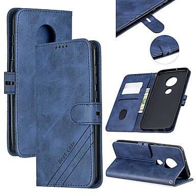 رخيصةأون Motorola أغطية / كفرات-غطاء من أجل موتورولا MOTO G6 / موتو G7 / موتو G7 بلس محفظة / حامل البطاقات / مع حامل غطاء كامل للجسم لون سادة جلد PU