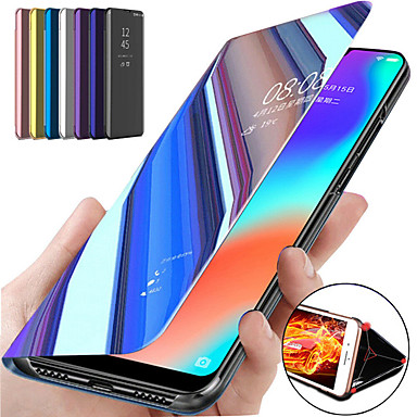 cheap iPhone X Cases-Case For Apple iPhone 11 / iPhone 11 Pro / iPhone 11 Pro Max with Stand / Plating / Mirror Full Body Cases Solid Colored PU Leather / PC