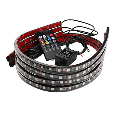 Недорогие Освещение салона авто-Автомобиль декоративный свет красочный беспроводной пульт дистанционного управления музыкой управления звуком лампа окружающего света шасси свет 90 * 120 см