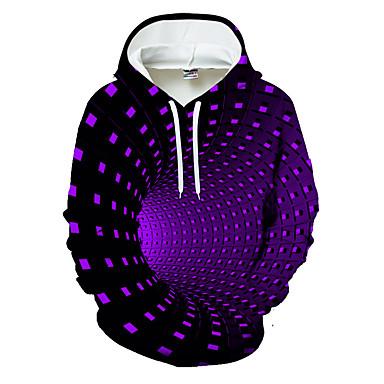 voordelige Herenhoodies & Sweatshirts-Heren Trui met capuchon Geometrisch Kleurenblok 3D Capuchon Informeel Standaard Hoodies Sweatshirts Zwart blauw Paars / Sport
