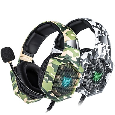 cheap Headsets & Headphones-ONIKUMA K8 PS4 Camouflage Gaming Headset Casque Wired PC PUBG Gamer Stereo Gaming Headphones with Microphone LED Lights for XBox One Laptop Tablet