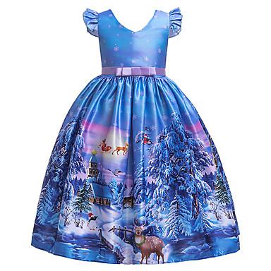 povoljno Predbožićna-Djeca Djevojčice Aktivan slatko Snowflake Božić Print Kratkih rukava Midi Haljina Plava