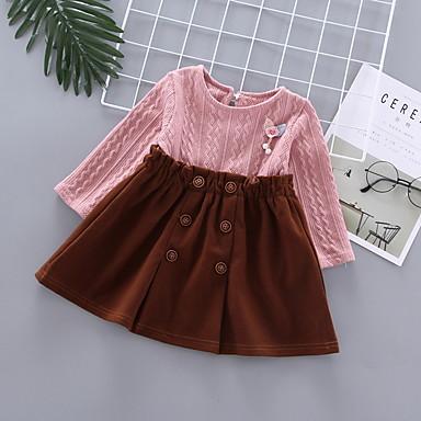 رخيصةأون ملابس الرضع-فستان كم طويل ألوان متناوبة للفتيات طفل