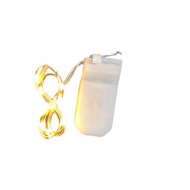 olcso LED szalagfények-1m LED-es szalagfények 10 LED SMD 0603 Meleg fehér Vízálló / Új design / Parti Akkumulátorok 1db