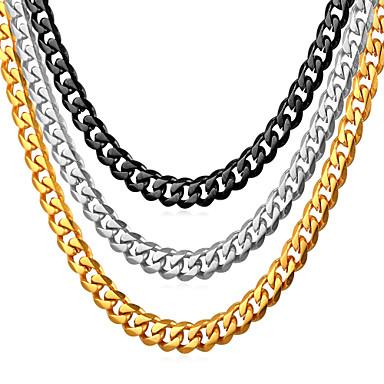 Muškarci Lančići Kubanska veza Mariner Chain Moda Hip Hop Tikovina Crn Zlato Srebro 55 cm Ogrlice Jewelry 1pc Za Dar Dnevno