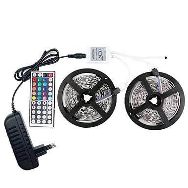 رخيصةأون شرائط ضوء مرنة LED-أضواء led قطاع 12v smd 5050 rgb 10m led الشريط متعدد الألوان مع 44keys 300 300 المصابيح بعيد غير شرائط ضوء ماء مع سائق