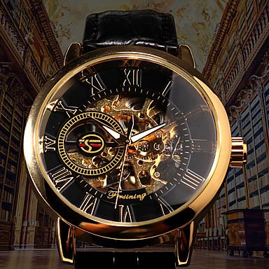 cheap Mechanical Watches-Men's Mechanical Watch Automatic self-winding Formal Style PU Leather Black / Brown 30 m Hollow Engraving Noctilucent Analog Luxury Fashion Skeleton - Black Black / White Golden+Black
