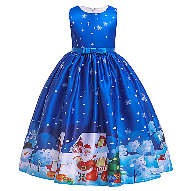 cheap Christmas-Kids Girls' Active Sweet Snowflake Christmas Print Short Sleeve Midi Dress Blue