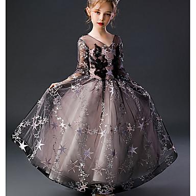 Недорогие Платья девушки-Дети Девочки Геометрический принт Платье Черный