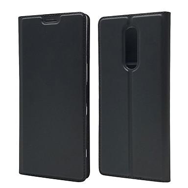Недорогие Чехлы и кейсы для Sony-Кейс для Назначение Sony Xperia XZ2 / Sony Xperia XZ3 / Xperia XA3 Бумажник для карт / Магнитный / Авто Режим сна / Пробуждение Чехол Однотонный Кожа PU / ТПУ
