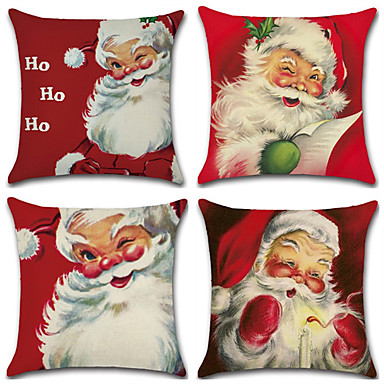 رخيصةأون وسائد-سلسلة عيد الميلاد مرسومة باليد سانتا كلوز تحت عنوان سادات الكتان