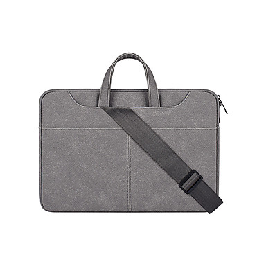 ieftine Carcase Laptop-geantă de transport laptop din piele pu servietă de călătorie cu geantă de umăr mare extensibilă extensibilă