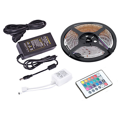 olcso RGB szalagfények-5 m-es fényszórók / rgb csíkos lámpák 300 LED-ek 2835 smd 10mm 1 x 12v 5a tápegység rgb vízálló / kreatív / megcsavarható 220-240 v / 110-120 v 1 szett