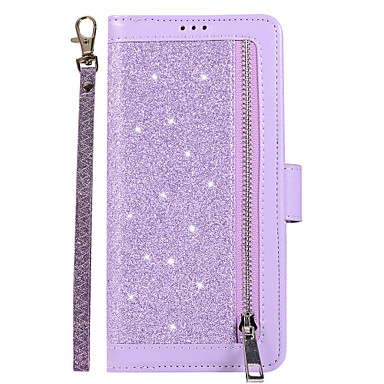 voordelige Galaxy Note-serie hoesjes / covers-hoesje voor samsung galaxy s9 / s9 plus / s8 plus kaarthouder / magnetisch / glitter shine full body hoesjes effen gekleurd / glitter shine pu leer / tpu