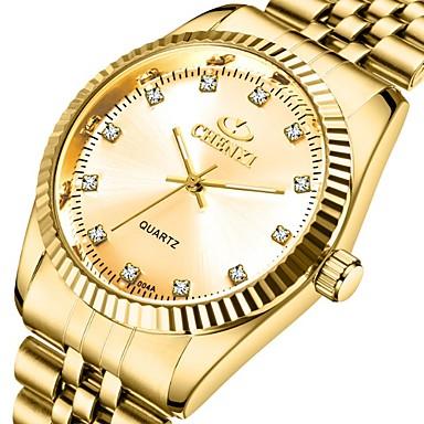 رخيصةأون ساعات الرجال-CHENXI® رجالي ساعة فستان كوارتز ستايل رسمي ستايل ستانلس ستيل ذهبي 30 m مقاوم للماء قضية مماثل ترف موضة - ذهبي ذهبي + أسود ذهبي + أبيض سنة واحدة عمر البطارية