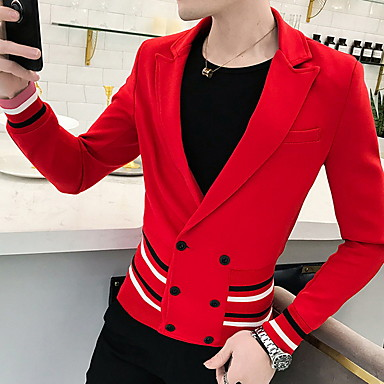 abordables Costumes & Blazers pour Homme-Homme Blazer Col châle Polyester Noir / Rouge
