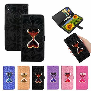 Недорогие Кейсы для iPhone 6 Plus-Кейс для Назначение Apple iPhone XS / iPhone XR / iPhone XS Max Кошелек / Бумажник для карт / Движущаяся жидкость Чехол Полосы / волосы / С сердцем Кожа PU