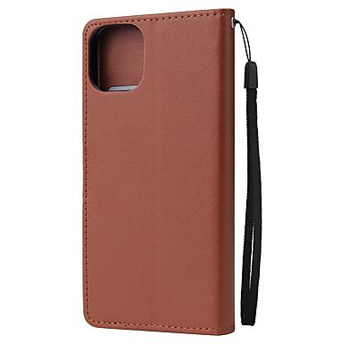 Недорогие Кейсы для iPhone-Кейс для Назначение Apple iPhone 11 / iPhone 11 Pro / iPhone 11 Pro Max Кошелек / Магнитный Кейс на заднюю панель Однотонный Кожа PU / ТПУ