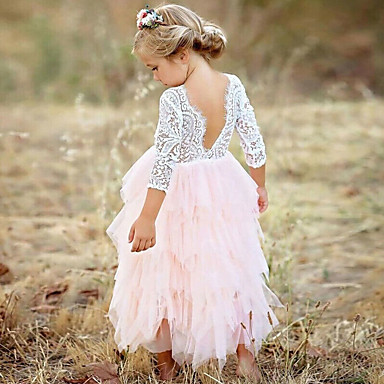 cheap Girls' Dresses-Kids Girls' Princess Party Daily Solid Colored Flower Lace Layered Long Sleeve Dress White