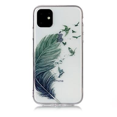 voordelige iPhone X hoesjes-hoesje Voor Apple iPhone 11 / iPhone 11 Pro / iPhone 11 Pro Max Ultradun / Transparant / Patroon Achterkant Veren TPU
