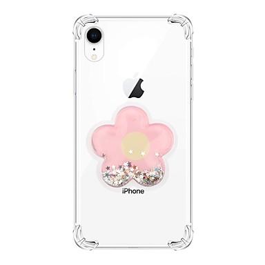 voordelige iPhone-hoesjes-hoesje Voor Apple iPhone XS / iPhone XR / iPhone XS Max Schokbestendig / Stromende vloeistof / Transparant Achterkant Glitterglans / Bloem TPU