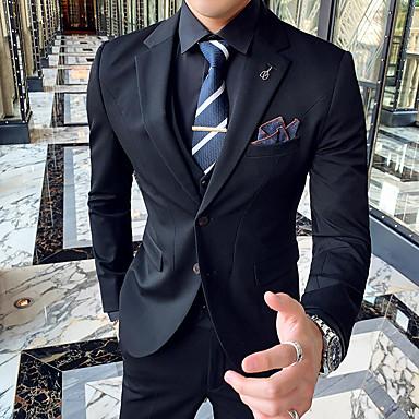 economico Smoking e completi-Nero / Grigio chiaro / Grigio Tinta unita Taglio aderente Poliestere Tuta - Dentellato Monopetto - 2 bottoni / Suits