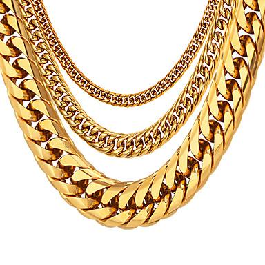 ieftine Coliere-Bărbați Lănțișoare Chainul gros Box lanț lanțul franco Modă Hip Hop Teak Negru Auriu Argintiu 55 cm Coliere Bijuterii 1 buc Pentru Cadou Zilnic