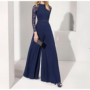 hesapli Özel Davet Elbiseleri-Tulum Zarif Mavi Düğün davetlisi Resmi Akşam Elbise Taşlı Yaka Uzun Kollu Yere Kadar Şifon ile Kurdeleler Boncuklama 2020