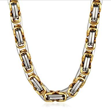 رخيصةأون القلائد-رجالي عقد كلاسيكي عمودي موضة الصلب التيتانيوم ذهبي + فضي 50 cm قلادة مجوهرات 1PC من أجل مناسب للبس اليومي