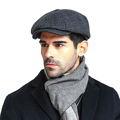 رخيصةأون قبعات الرجال-الخريف الشتاء أزرق البحرية قبعة قلنسوة قبعة مرنة ألوان متناوبة رجالي كشمير قطن أكريليك,أساسي
