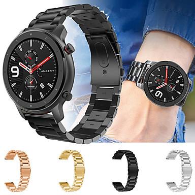 voordelige Horlogebandjes voor Xiaomi-metalen roestvrijstalen horlogeband polsband voor xiaomi huami amazfit gtr 47mm / amazfit stratos 2 / 2s / amazfit tempo slimme horlogeband polsband vervangbare accessoires