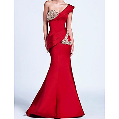 cheap Special Occasion Dresses-Mermaid / Trumpet One Shoulder Floor Length Satin Elegant Formal Evening Dress 2020 with Draping