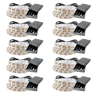 رخيصةأون شرائط ضوء مرنة LED-0.5 متر البطاريات مرنة أدى ضوء شرائط 30 المصابيح smd3528 5 ملليمتر دافئ أبيض / أبيض / أحمر للماء / حزب / بطاريات الديكور بالطاقة 10 قطع