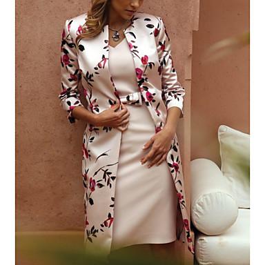 povoljno Print Dresses-Žene 2020 Bež Haljina Elegantno Proljeće ljeto Dvodijelni kroj Cvjetni print V izrez Čipka M L Slim