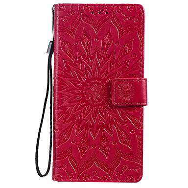 voordelige Galaxy J-serie hoesjes / covers-hoesje voor Samsung Galaxy Note 10 Galaxy Note 10 plus telefoonhoesje pu leer materiaal reliëf datura bloemen patroon effen kleur telefoonhoesje