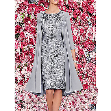 cheap Lace Dresses-Women's Two Piece Dress - 3/4 Length Sleeve Paisley Solid Colored Lace Formal Style Wrap Spring Fall Elegant Cocktail Party Prom Birthday Slim 2020 Wine Blue Gray M L XL XXL XXXL